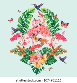 Pink flamingos, hummingbirds, tropical flowers, banana leaves, hibiscus, orchid flower, butterflies, jungle leaf composition. Summer vector exotic plants botanical illustration isolated