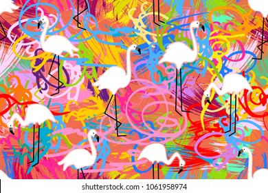 Pink flamingos on colorful grunge background. Seamless animal print with tropical motifs. Trendy design for textile, cards, covers and other decorations.