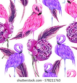 Pink flamingos, purple flowers, peony, feathers seamless tropical pattern background. Spring summer design for fashion, prints, textile. Vector beautiful birds illustration, boho style
