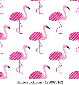 Pink flamingos seamless pattern on white background. Standing posture. Zoo bird park. Vector design illustration.