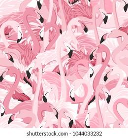 Pink flamingos seamless pattern. Random overlap exotic wading birds flock flamboyance. Detailed beaks, necks, feather, body. Standing posture. Zoo bird park. Vector design illustration.