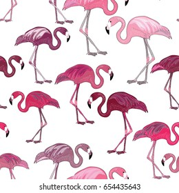Pink flamingos seamless pattern. Vector illustration on white background