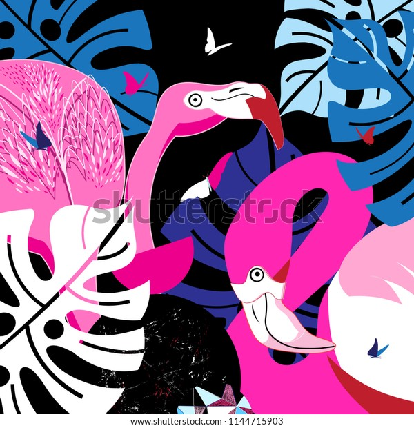 Pink flamingos in the tropical jungle with butterflies