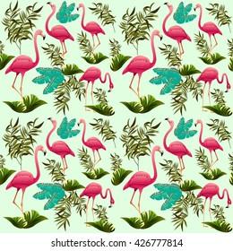 Pink Flamingos Vector Pattern. Ornamental Decorative Fabric Motive. Exotic Bird.