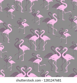 Pink flamingos. Zoo bird park. Seamless pattern. Overlap exotic wading birds.  Flamboyance flock on gray bird park. Walking flamingos.