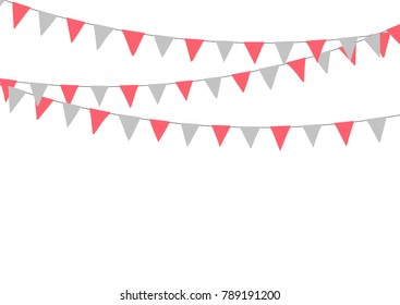 Pink flat buntings garlands, flags. Celebration decor. Valentines Day.