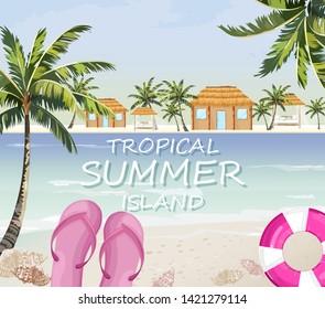 Pink flipflops at sea. Summer seaside banner Vector. Colorful travel poster