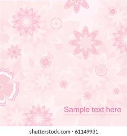 Pink Floral Card Design Vector