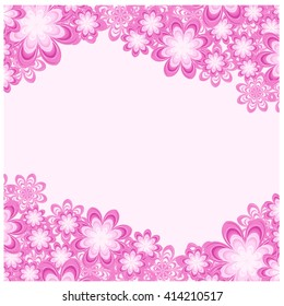 pink floral frame for greeting card vector