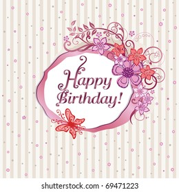 Pink floral happy birthday card. This image is a vector illustration.