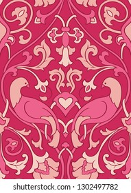 Pink floral pattern. Seamless filigree ornament. Stylized template for wallpaper, textile, shawl, carpet and any surface. Color background with birds and flower.