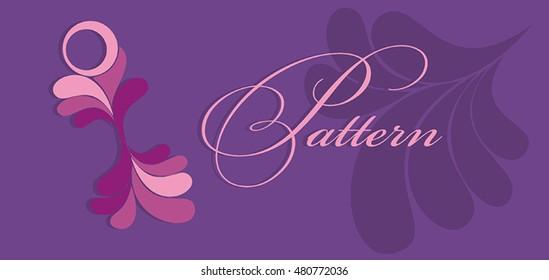 Pink floral pattern. Vector pattern. Purple background.