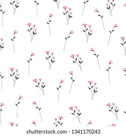 pink flower and black leaves seamless pattern