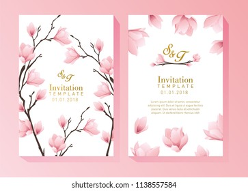 Pink Flower Invitation Template
