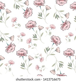 pink flower and leaf seamless pattern