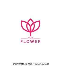 Pink flower logo design template vector