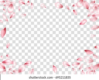 Pink Flower Petal Confetti Vector Rectangular Frame on Transparent Background white and grey grid. Spring blossom petals flying isolated elements border. Can be used for wedding invitation template