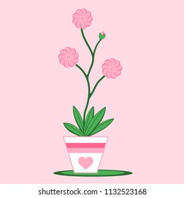 Pink flower in a pot with a heart. A flower with blossoms in pink and green leaves. The pot is decorated with a heart.