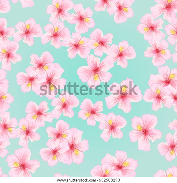 Pink flower, sakura seamless pattern. Japanese cherry blossom for fabric textile design. Texture for pillow, wrapping, tablecloth and other