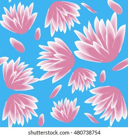 pink flower seamless pattern on blue background