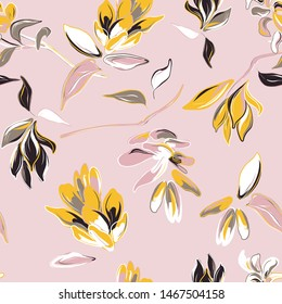 Pink flower and yellow leaves hand-drawn background. Vector summer bloom, isolated botany pattern. Garden fabrics, flowery wrapping paper deign. Leaves and petals blossom graphics.