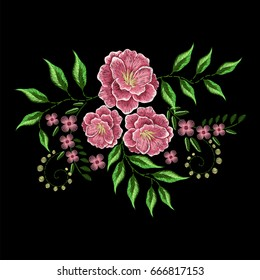 pink flowers embroidery for apparel, fashion neckline