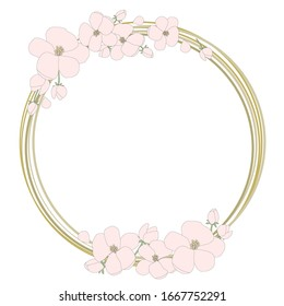 Pink flowers frame, cherry blossom, sakura on the yellow gold rings. Invitations card, Save the date, celebrate background. Vector isolated painting art
