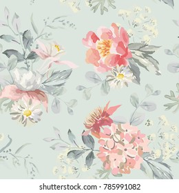 Pink flowers with leaves on the pearl gray background. Vector seamless pattern. Romantic illustration. Cottage garden bouquets.