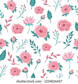 Pink flowers and leaves on a white background. Seamless vector pattern