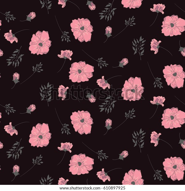 pink flowers on black background floral