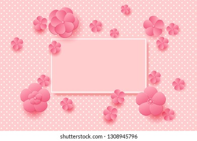 Pink flowers on the decorated background. Vector illustration EPS10 for Valentines Day, Wedding, or Mother Day Greeting Card