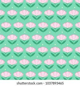 Pink flowers on mint background - pattern - vector illustration eps10