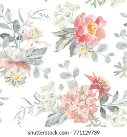 Pink flowers with pearly gray leaves on the white background. Watercolor vector seamless pattern. Romantic illustration. Cottage garden bouquets.