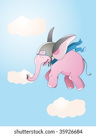 pink flying elephant