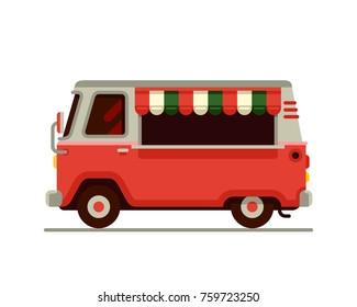 Pink food camper van in flat style vector illustration