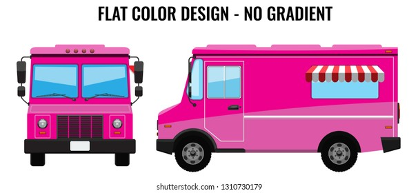 Pink Food Truck Hi-detailed with solid and flat color design template for Mock Up Brand Identity. Front and side view.
