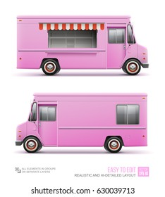 Pink Food Truck - vector template for Mockup Brand Identity. Realistic Fast food Van template for Mock Up Brand identity design and transport advertising. Pink Food Delivery Truck. Retro Classic Car
