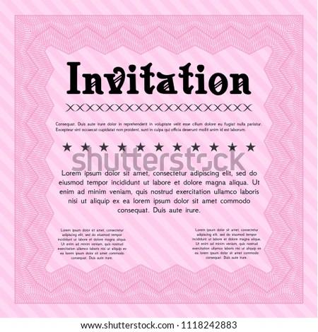 Formal Invitation | Pink Formal Invitation Template Artistry Design Stock Vektorgrafik