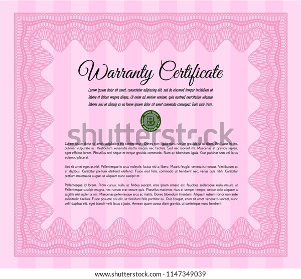 Pink Formal Warranty Certificate template. With great quality guilloche pattern. Customizable, Easy to edit and change colors. Artistry design.