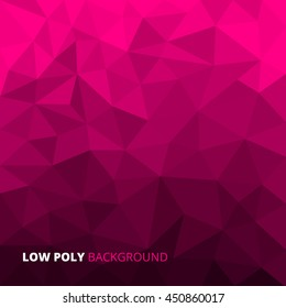 Pink fuchsia abstract geometric rumpled triangular low poly style vector illustration graphic background.