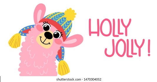 Pink funny llama in a hat, isolated on white background. Lettering holly jolly. Cartoon alpaca in hand drawn style for children's and kids books, print, poster, stickers, fabric, Christmas cards.