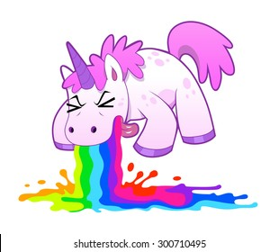 Pink funny unicorn pukes liquid rainbow. Vector illustration.