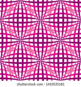 Pink geometric seamless background with optical illusion pattern