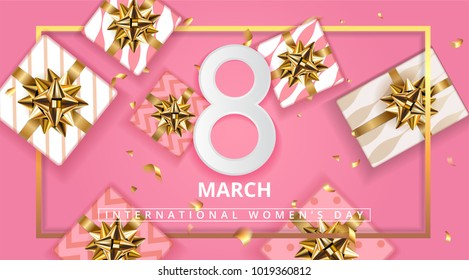 Pink Gift box background for March 8, International Womens Day, Birthday , Valentines Day or Mothers day - Top View. Pink shop certificate or Gift greeting card. Vector illustration. EPS 10