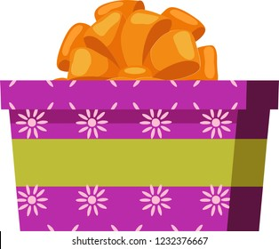 Pink gift box with sun texture, green ribbon and orange bowknot