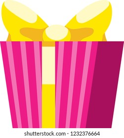 Pink gift box with yellow ribbon and yellow bowknot