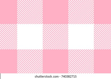 Pink Gingham pattern. Texture from rhombus/squares for - plaid, tablecloths, clothes, shirts, dresses, paper, bedding, blankets, quilts and other textile products. Vector illustration.