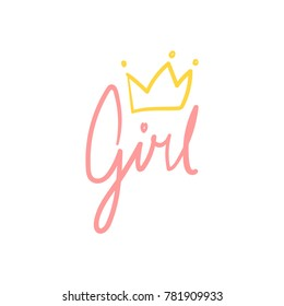 Pink Girl Cursive Hand Lettering with a Yellow Crown Vector Isolated on White Background