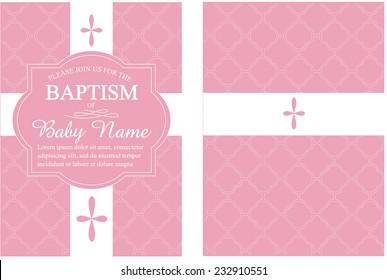 Pink Girls Baptism/Christening Invitation with Quatrefoil Background - Vector