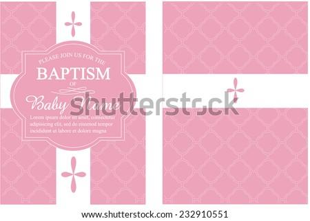 Pink Girls Baptism Christening Invitation Quatrefoil Background